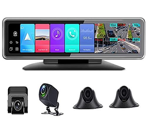 QQ HAO Grabador De Conducción Panorámica Inteligente 4G De 360 Grados, 4 Cámaras Universales, Grabación Simultánea, Control De Voz Bluetooth, Monitoreo Remoto