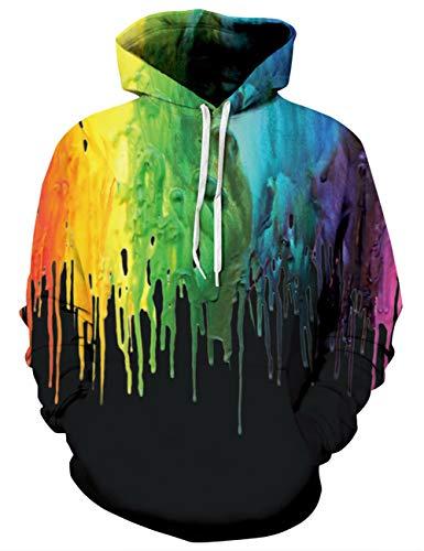 Goodstoworld Sweat-Shirt Splash Homme à Capuche Imprimé 3D Coloré Hipster Graphique Pull Arc en Ciel Vetement Noir,C-colorful Painting1,XXL
