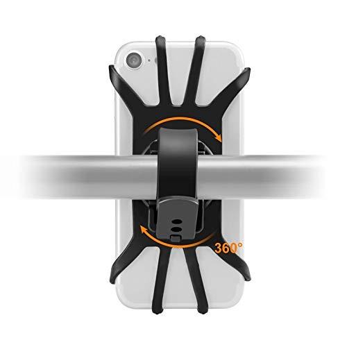 FUNRE Universal-Bike-Telefon-Einfassung, 360 ° Rotation Silikon-Fahrrad-Telefon-Halter, Motorradlenkerhalterung passend for iPhone 4.0 Zoll-6.0 (Color : Black)