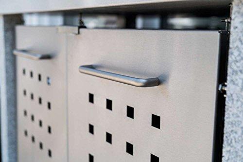 Mülltonnenbox Flachdach Plandesign Edelstahl 120 Liter 2 Mülltonnen - 2