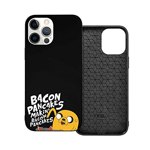 Compatibile con iPhone 12/11 PRO Max 12 Mini SE X/XS Max XR 8 7 6 6s Plus Custodie Adventure Time Jake The Dog Bacon Pancakes Nero Custodie per Telefoni Cover