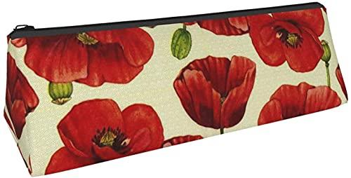 Bolsa de lápices Plies Pen Bacil Bag,Rojo py Flower Printing Pencil Case Triángulo Durable Portátil Papelería Almacenamiento Caja Lápiz