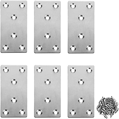 Flat Metal Straight Brace Bracket, Stainless Steel Flat Fixing Brace Brackets with Screws for Wood Shelves Bed Table Chest Box Furniture, Hinge Repair Brackets (6PCS)