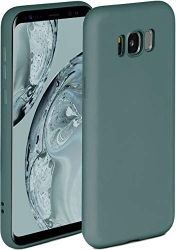 ONEFLOW Soft Case kompatibel mit Samsung Galaxy S8 Plus Hülle aus Silikon, erhöhte Kante für Bildschirmschutz, zweilagig, weiche Handyhülle - matt Petrol