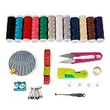 XXYHYQHJD Bordado de Hilo Portátil de Viaje de Costura Kits Set Agujas de Coser Herramientas de Costura Que acolcha Rosca Accesorios Tijeras (Color : 49 PCS, Size : 1)