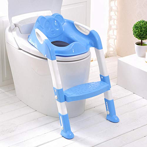 2 Couleurs Siège de Formation de Pot de Bébé Enfants Pot avec Échelle Réglable Siège de Toilette Bébé Infantile Formation de Toilette Siège Pliant-Bleu