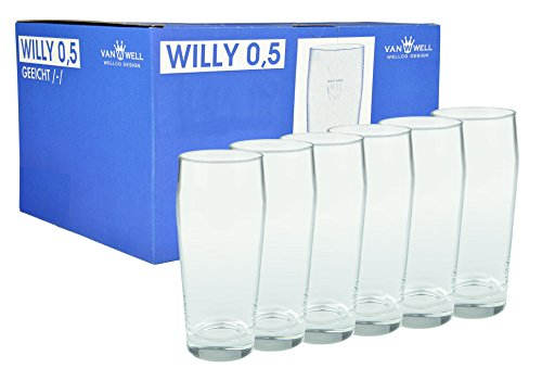 Van Well 6er Set Bierglas Willibecher 0,5l geeicht