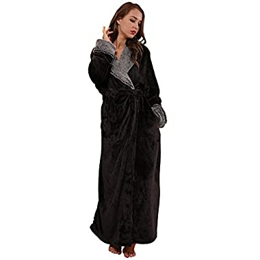 SUNBABY Thicker Long Flannel Sleepwear for Women and Man Imitation Fur Collar Bathrobes Warm Couple Pajamas(L,Black)