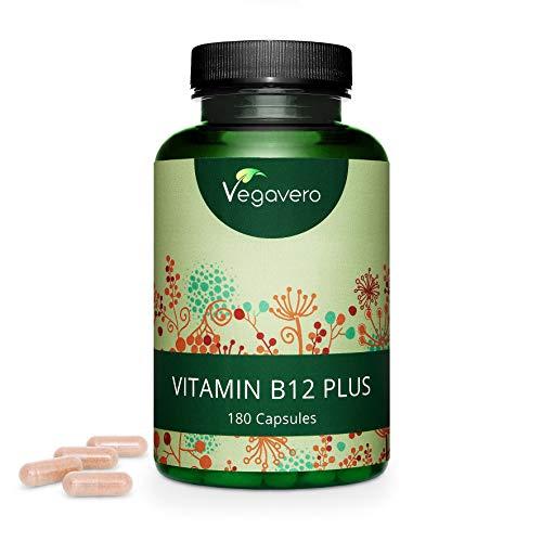 Vitamina B12 PLUS Vegavero® | Calidad Superior: Las 2 Formas Activas + Ácido Fólico + B6 + Colina | VEGANA Y SIN ADITIVOS | Vitaminas Para el Cansancio + Anemia + Sistema Nervioso | 180 Cápsulas