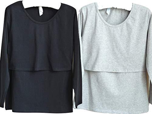 授乳服 授乳 Tシャツ インナー 長袖 産前 産後 用 年中使える マタニティ ウェア medy(メディー) これ一枚で春夏秋冬、授乳後も。ベーシックな無地デザインの 授乳Tシャツ 授乳口付き インナー (ブラック/グレー)