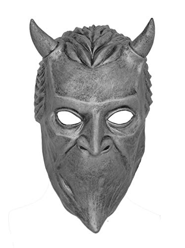 DealTrade Halloween Nameless Ghoul Maske Cosplay Kostüm Band Geist Silber Latex Gesicht Helm Herren Damen Verkleiden Merchandise