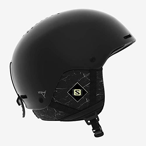 Salomon Damen Ski- und Snowboardhelm, ABS-Schale, SMART-Technologie, Größe S, Kopfumfang 53-56 cm, Spell+, schwarz (Black Marble), L40538900