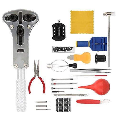 Juego de herramientas de reparación de relojes, juego de reparación de relojes de mantenimiento de precisión, portátil de 22 piezas para uso doméstico, uso profesional, relojeros,
