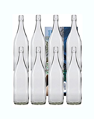 10er Set Bügelflaschen Bügelflasche Glasflaschen mit Bügelverschluss 1L 1000 ml Typ A zum Selbstbefüllen Vitrea
