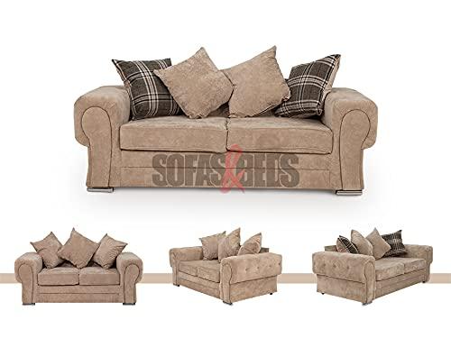 Sofás & Camas Chiswick 2 plazas sofá y 3 plazas – Sofá de tela de chenilla y sofás con reposabrazos, cómodo juego de sofá con cojines forrados de espuma, color gris.