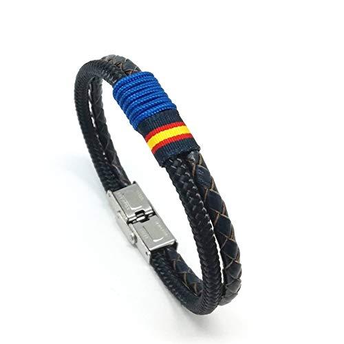 HISPANIA COLORS SINCE MMXI SPAIN Pulsera Nautilus Dúo Plus Azul Marino con Bandera de España - Pulsera de Piel y cordón náutico (Verde, 18)