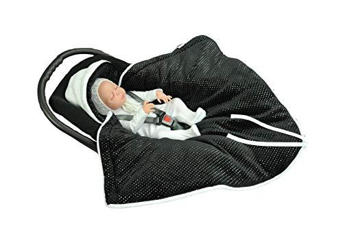 MOMIKA inslagdeken, universeel voor babyschaal, autostoel, voor kinderwagen, buggy of babybed, stijlvolle zilverdraad (zwart)