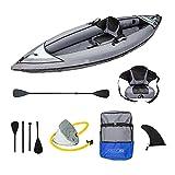 ADRN Kayak Hinchable 1 Plaza 317x90x33cm, travesía mar y ríos. con Remo, Asiento, inflador y Mochila de Transporte