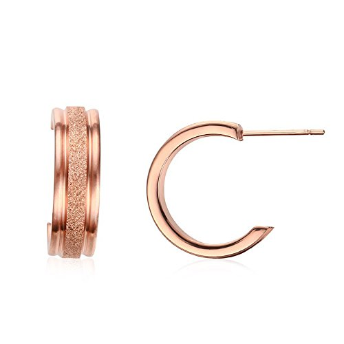Kim Johanson rostfritt stål damörhängen *Harmony* kreolsk cirkel i roséguld inkl. smyckesaccessoarer
