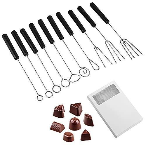Schneespitze 10 Piezas Tenedores de Chocolate de Acero Inoxidable Tenedores de Acero Inoxidable con Mango de plástico Tenedores para Fondue Queso para La DecoracióN De Postres Bricolaje