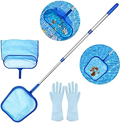 Aiglam Swimming Pool Skimmer Net, Fine Mesh Leaf Skimmer & Deep Bag with Pole for Cleaning Garden Pond, Hot Tub and Spa