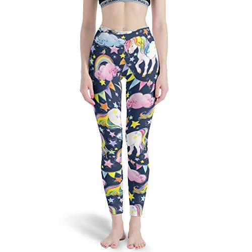Gamoii - Leggings de Yoga para Mujer, diseño de Nubes y Estrellas, con Unicornio, Pantalones de Deporte, Pantalones de Yoga, Cintura Alta, Leggins de Larga Elasticidad Blanco XL