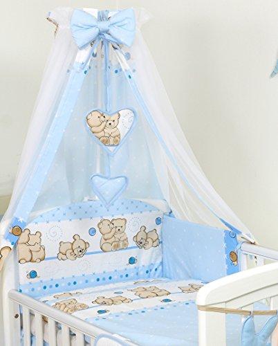 Pro Cosmo 10 Piezas Juego de Ropa de Cama para Cuna bebé/Edredón, Dosel, Protector (120x60cm, Azul de Peluche)