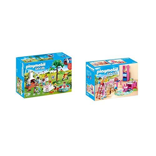 PLAYMOBIL City Life Fiesta en el Jardín, con Efectos de Luz, a Partir de 4 Años (9272) , Color/Modelo Surtido + City Life Habitación Infantil, a Partir de 4 Años (9270)