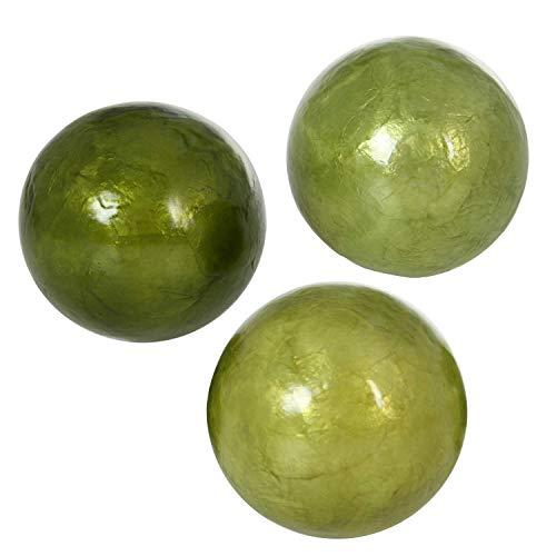 DRW Set de 3 Bolas de nácar de Diferentes Modelos, Tonos Verdes