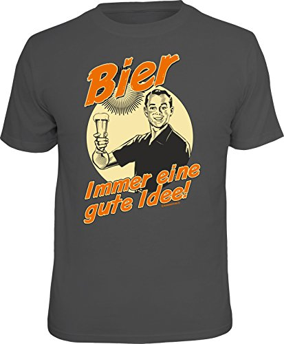 RAHMENLOS Original T-Shirt für den Bier-Liebhaber: Bier, Immer eine Gute Idee. Größe L, Nr.1543