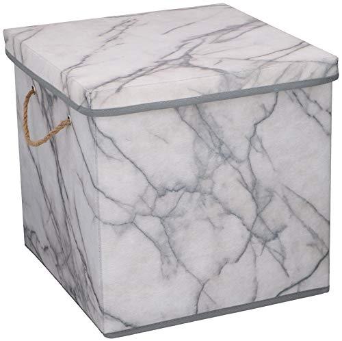 Urban Design Aufbewahrungsbox Aufbewahrung Lagerung Box Kiste faltbar mit Deckel und Trageseil aus Stoff in Marmor Optik (Quader)