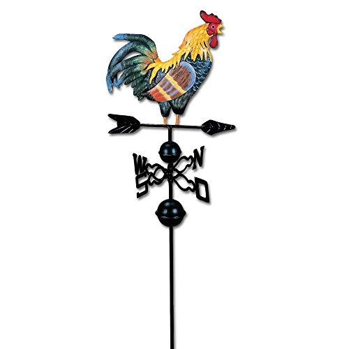 HGC 48 in. Metal Weather Vane for Garden Decor Farmhouse Decorative with Rooster Ornament Wind Vane Weathervanes