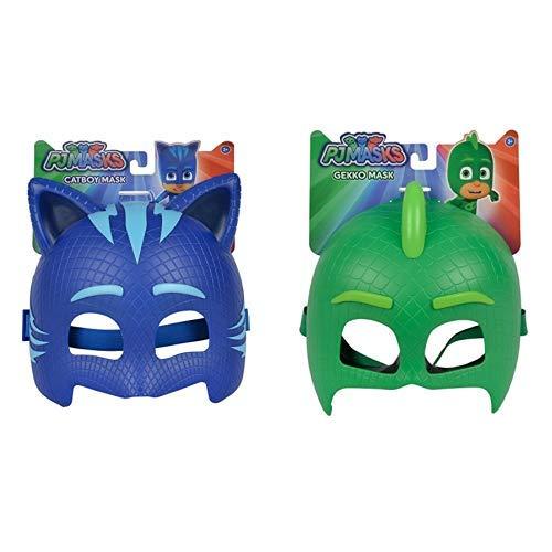 Simba 109402090 Maske Catboy, Blau, One Size &  109402091 Maske Gecko, Grün, One Size