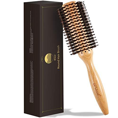 BFWood Runde Haarbürste, Holzgriff, Stylingbürste mit Wildschweinborsten