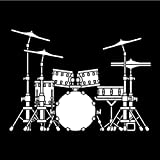 3 Piezas 16.7 cm * 12.1 cm extraíble Rock Music Drum Kit Set Vinyl Car Sticker -Blanco