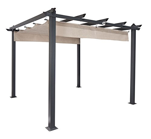 Coolaroo Aurora Pergola, Backyard or Patio Shade Pergola, Light Filtering 90% UV Block, (9'8' X 9'8'), Smoke