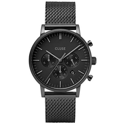 Cluse Men's Aravis 40mm Black Steel Bracelet & Case Quartz Watch CW0101502007