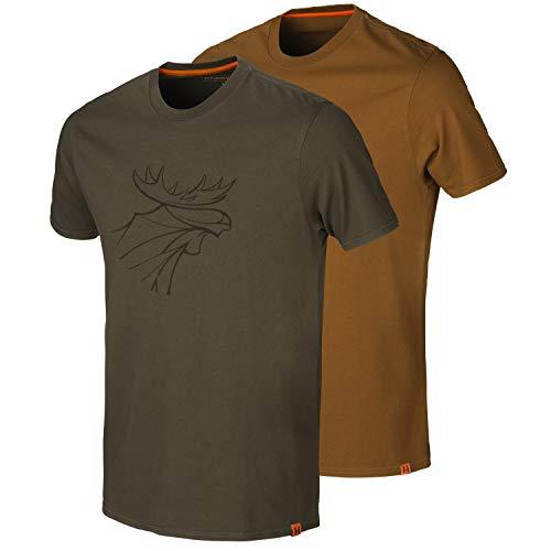 Härkila Lot de 2 t-shirts graphiques pour chasseur en deux couleurs différentes avec imprimé élan - T-shirt de chasse pour homme en marron, vert et orange - Taille : XL - Couleur : orange