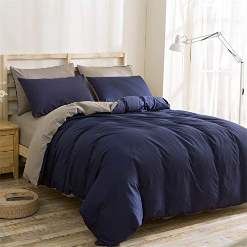 WANGCAN Bettwäsche Bettbezug Set 4 Teilig,Eleganter Stil Mikrofaser Bettgarnitur Bettwäsche-Set Kopfkissenbezug mit Reißverschluss|Einfarbig vierteilig C-3 220 * 240cm + 230 * 250cm + 74 * 48 * 2cm