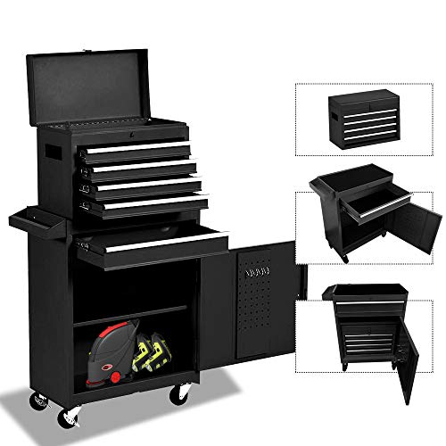 5-Drawer Rolling Tool Chest Portable Removable Tool Cabinet, Tool Storage Box Big Tool Chest with 4 Wheels and Sliding Metal Keyed Locking System Drawers(Black)