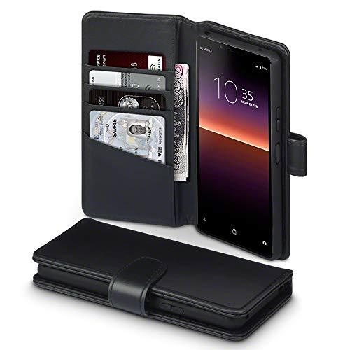 TERRAPIN, Kompatibel mit Sony Xperia 10 II Hülle, [ECHT Leder] Brieftasche Hülle Tasche mit Standfunktion Kartenfächer & Bargeld - Schwarz