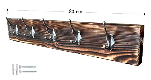 CHYRKA® Wandgarderobe ZBARAZ Garderobenhaken Vintage Garderobenleiste Hakenleiste Retro Loft Massivholz Industrial Design (Natur, 80 cm - 5 Haken)