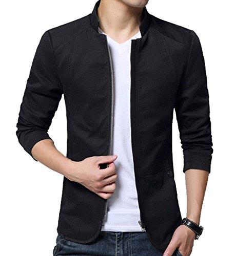LeeHaru Homme Veste Blazer Vestons Slim Fit Costume Jacket Blouson Casual - Noir - Taille Médium(Poitrine 110cm)
