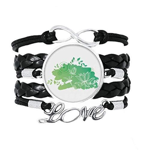 DIYthinker Lotusblüte, Froschblätter, Pflanzenblumen-Armband, Liebesaccessoire, gedrehtes Leder, Strickseil, Geschenk
