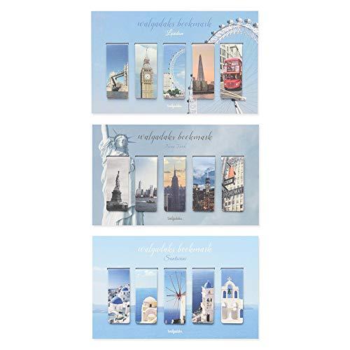 Monolike - Segnalibri magnetici Viaggio Londra + New York + Santorini, 15 pezzi