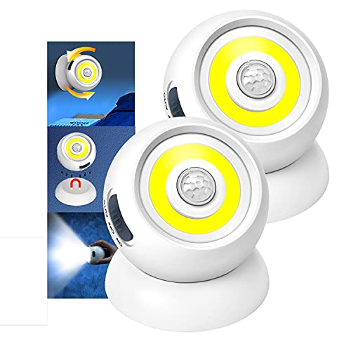 Motion Sensor Lights, 360°Motion Activated Portable Night Lights, 2Pack Battery Powered Safe Lights, Wireless Wall Light for Closet, Stair, Bedroom, Wardrobe, Garage, Power Outages