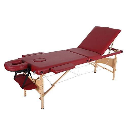 Asffdhley Tragbarer Massagetisch Tragbare Massageliege Tabelle 3 Abschnitt Faltbare Beauty Couch mit Holzrahmen for die SPA-Salon Whirlpool (Color : Photo Color, Size : 185x60cm)