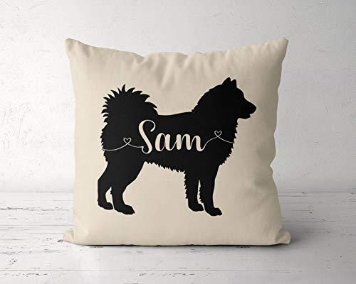 DKISEE Custom Siberian Husky Decorative Throw Pillow Cover, Personalized Husky Pillow Case, Dog Lover Gift, Cotton Canvas Square Pillowcase Cushion Case for Sofa Couch Bed Chair 20 x 20 Inch