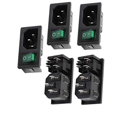 Aexit AC10A 250V 4-polige grüne Lampe Wippschalter IEC320 C14 Steckdose 5Pcs (258c025ed3656a084122c1d764529286)