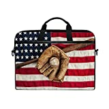 AGONA Vintage American Flag Baseball Bat Laptop Shoulder Messenger Bag 15 inch Case Sleeve for 14 Inch Laptop Case Laptop Briefcase Compatible Notebook Ultrabook Chromebook